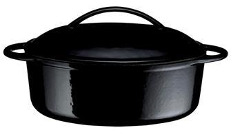 Gusseiserner Schmortopf oval, 22cm, 1,5 Liter, schwarz