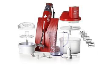Stabmixer Bamix 200W + SliceSy in Rot