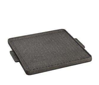 Grillplatte aus Gusseisen, beidseitig verwendbar, 40x40 cm