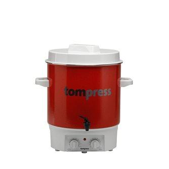 Elektrischer Pasteurisierer, emailliert, mit Timer und Hahn, Tom Press