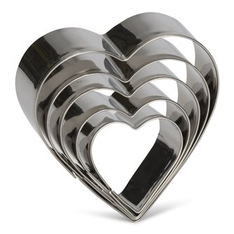 5er-Pack Ausstecher Herzform aus Edelstahl