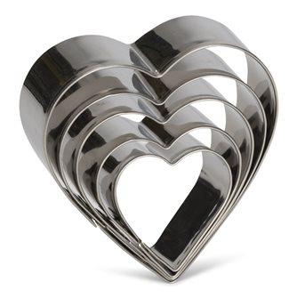 Lot de 5 emporte-pièces coeur en inox