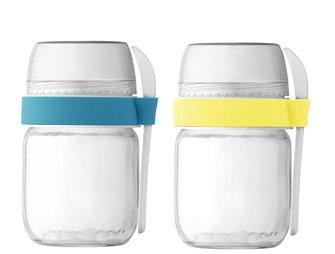 2 To-Go Joghurtbecher mit 2 Unterteilungen für Joghurtbereiter Gelb und Blau