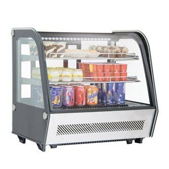Vitrine réfrigérée 120 litres avec éclairage led à poser sur table ou comptoir noire