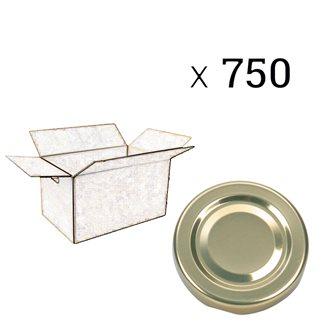 Capsules twist off dorées de 82 mm de diamètre par carton de 750