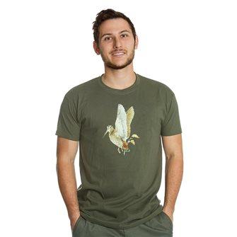 Tee shirt homme Bartavel Nature kaki sérigraphie bécasse L