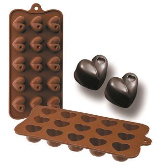 Form aus Silikon für 15 Schokoladenherzen