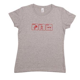 Damen T-Shirt M Grape Press Wine Tom Press graumeliert bordeauxroter Aufdruck