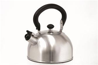 Bouilloire inox à sifflet 1,5 litre induction avec anse rabattable