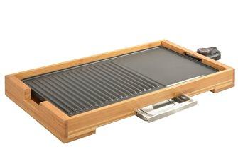 Plancha gril de table 51x26 cm de 2 000 W en fonte d´alu antiadhésive et bambou