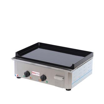 Plancha électrique fonte émaillée 20 mm 60x40 cm professionnelle 3 500 W bâti inox fabriquée en France